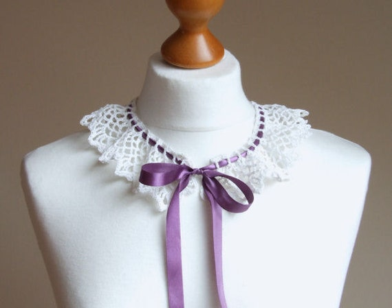 CROCHETED COLLAR Back to School vintage WHITE with purple ribbon, peter pan collar, gift under 20