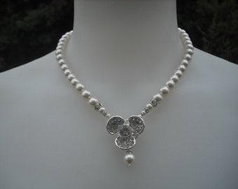 ANNA , Rhinestone Center Necklace, Bridal Necklace, Rhinestone and Pearl Necklace, Vintage Style Bridal Necklace, Wedding Jewelry