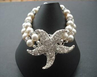 Bridal Bracelet, Sarfish Version 3, Beach Theme Wedding, Silver Rhinestone Bracelet, Vintage Style Bridal Jewelry, Wedding Jewelry