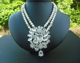 SALE -  Sofia Collection, Statement necklace, Rhinestone Necklace, Victorian Bridal Necklace, Vintage Style Bridal Necklace, Wedding Jewelry