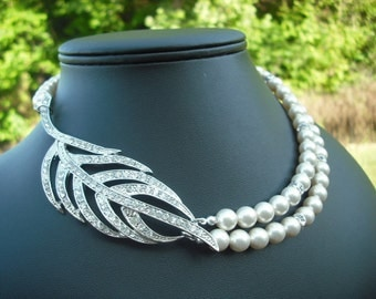 Elizabeth Collection, Bridal Necklace, Rhinestone and Pearl Necklace, Double Strand Vintage Style Bridal Necklace, Wedding Jewelry
