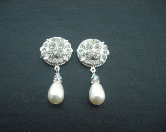 Camily Collection, Bridal Earrings, Rhinestone Crystal and Pearl Earrings, Art Deco Vintage Style Bridal Earrings, Weddng Jewelry