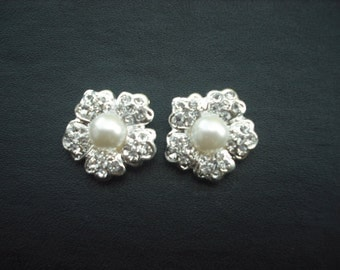 Avery Collection, Bridal Earrings, Pearl Center Rhinestone Crystal Flower Earrings, Vintage Style Bridal Earrings, Weddng Jewelry