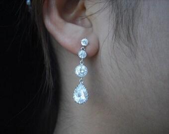 Rhinestone Drop Earrings, Bridal Earrings, Rhinestone Crystal earrings, Vintage Style Bridal Earrings, Weddng Jewelry