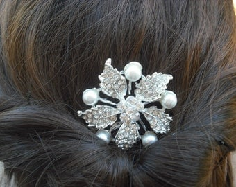 SALE -  Kayla, Art Deco Rhinestone flower With Pearl Hair Comb, Bridal Hair Comb, Vintage Style Hair Accessories, Wedding Hair Comb
