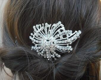 Scarlett, Bow with Flowers Rhinestone Hair Comb, Art Deco Bridal Hair Comb, Vintage Style Hair Accessories, Wedding Hair Comb