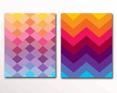 Printable PDF Chevron Print Rainbow Wall Art, Nursery 8x10