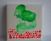 Kneeling down.....Original Mini Painting Acrylic on Canvas, hot neon orange and green