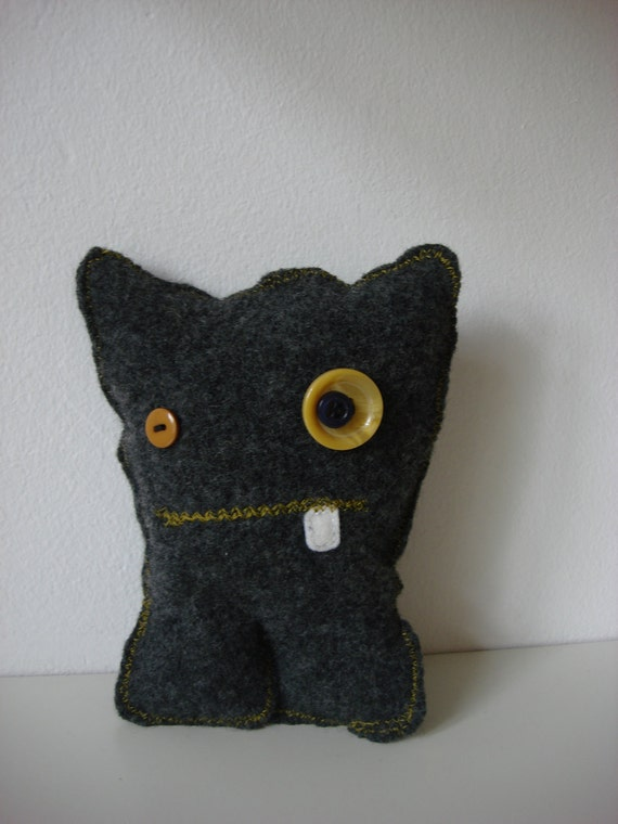Martha, Miss Silly Monster, made of Upcycled Felted Wool Sweater, OOAK