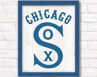 Vintage Chicago WHITE SOX rustic wood sign - White Sox fan wall hanging Boys room Man cave decor - Fathers Day gift for Dad
