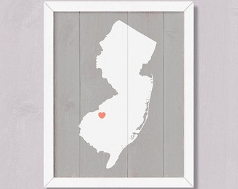 NEW JERSEY Rustic decor 16x20 Handmade Personalized Sign Custom Heart Location Wedding Bridal shower Housewarming Family gift