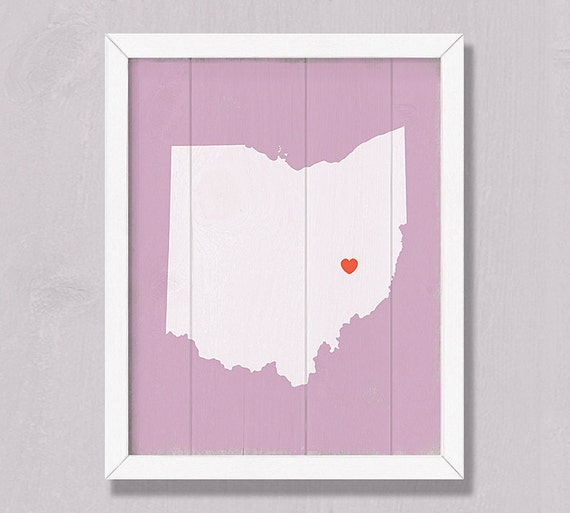 OHIO Rustic decor 16x20 Handmade Personalized Wood Sign Custom Heart Wedding Housewarming Bridal shower Family gift