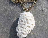 White sea shell necklace with golden chain
