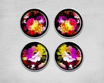 Earrings Pendants - 12mm Earrings - Digital Collage Sheet - Best for jewelry pendants -  WONDERFUL FLOWERS