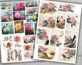 6 Printable Sheets - Digital Collage Sheets - Best for scrapbooking, paper craft and decoupage - CHINA ART COLLECTION
