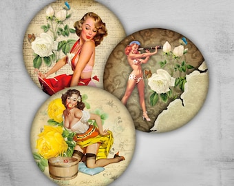 Pinup Girls 1.5 inch & 1 inch - Digital Collage Sheet - Best for jewelry pendants, magnets, bottle caps - PINUP GIRLS