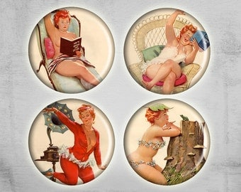 1 inch circles Pinup Girls on Digital Collage Sheet Best for Jewelry pendants Magnets Jewelry making - WONDERFUL LADIES