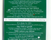 Mommy OM art prints. Kids Wall Art. 25 things i want my son to know 8.5x11 PRINT