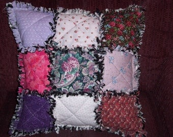 PILLOW Quilted, Handmade, Sewn in Rag Style, Mulit Colored, Cottage Chic, Farmhouse Decor, Pink, Purple, Black, Country Decor, Cabin