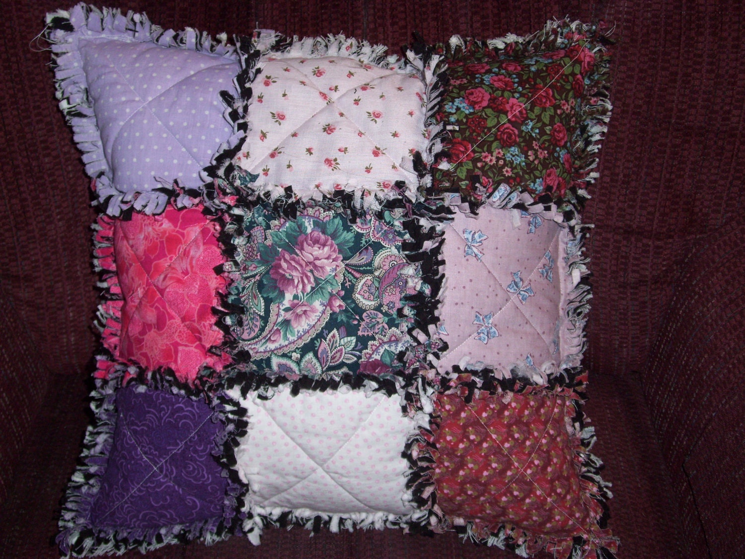 handmade pillows pillow quilted handmade sewn in rag style mulit colored 2894