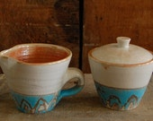 white and turquoise sugar-creamer set Reserved for Hallie Lee