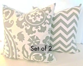 SET of 2 GREY PILLOWS 20x20 Decorative Throw Pillow Cover 20 x 20 Suzanni chevron pillows