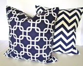 PILLOWS SET Of 2 Dark Blue Decorative Throw Pillows 20x20 Throw Pillow Covers  Fabric Front & Back