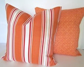 Sale THROW PILLOWS SET Of 2  16x16 Orange Decorative Throw Pillow Covers  Striped 16 x 16 Beach Indoor Outdoor Fabric Front & Back