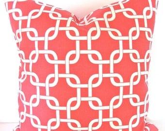 CORAL PILLOWS CORAL Throw Pillows Coral Pillow Covers Nautical Beach Pillow Covers 16x16 18 20 .All Sizes. Salmon orange .Sale.
