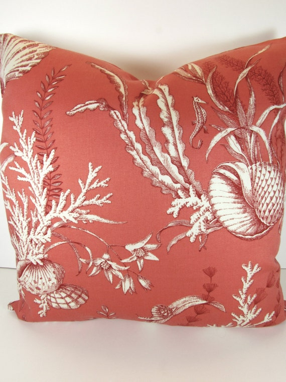 Items similar to Sale CORAL PILLOW COVER 14x14 Decorative Throw Pillows Coral Shells Beach Throw ...