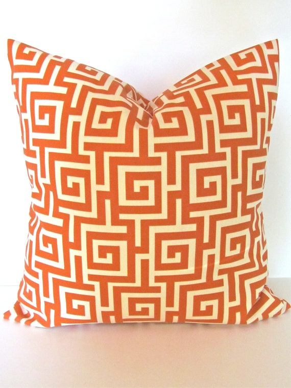 ORANGE PILLOW Orange Pillows ORANGE Decorative Throw Pillows 18x18 Copper Pillow Beach Indoor Outdoor Pillow Home and living .Clearance