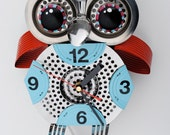 Mr Asio, owl clock - blue and red.