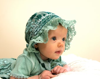 """Silk velvet baby dress and bonnet: """"Her little Highness"""".  infant photo prop, newborn bonnet and dress set, baby hat, baby Easter outfit"""