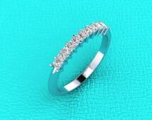 14K white gold shared prong princess cut diamond band