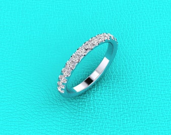 14K white gold french pave' diamond band