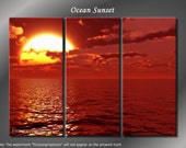 Framed Huge 3 Panel Seascape Red Ocean Sunrise Giclee Canvas Print - Ready to Hang