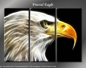 Framed Huge 3 Panel Digital Art Fractal Eagle Giclee Canvas Print - Ready to Hang