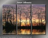 Framed Huge 3 Panel Modern Art Sunset Silhouette Giclee Canvas Print - Ready to Hang