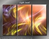 Framed Huge 3 Panel Digital Fractal Art Light Swirl Giclee Canvas Print - Ready to Hang