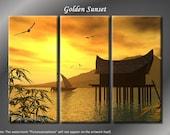 Framed Huge 3 Panel Art Ocean Cottage Golden Sunset Giclee Canvas Print - Ready to Hang