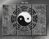 Framed Huge 3 Panel Chinese Taoism Yin Yang Giclee Canvas Print - Ready to Hang