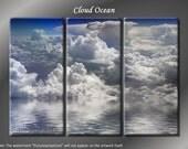 Framed Huge 3 Panel Modern Art Sky Ocean Clouds Giclee Canvas Print - Ready to Hang
