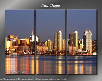 Framed Huge 3 Panel City Skyline Harbour San Diego Giclee Canvas Print - Ready to Hang