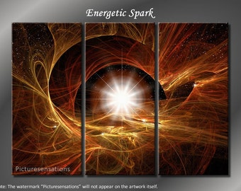 Framed Huge 3 Panel Energetic Spark Giclee Canvas Print - Ready to Hang