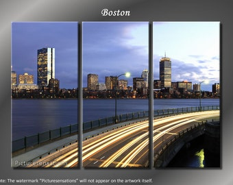 Framed Huge 3 Panel Boston Skyline Downtown Giclee Canvas Print - Ready to Hang