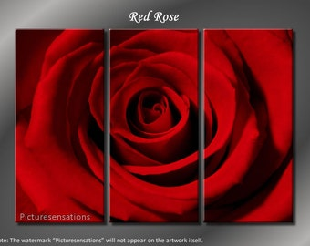 Framed Huge 3 Panel Flower Floral Art Red Rose Giclee Canvas Print - Ready to Hang