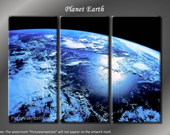 Framed Huge 3 Panel World Universe Blue Planet Earth Giclee Canvas Print - Ready to Hang