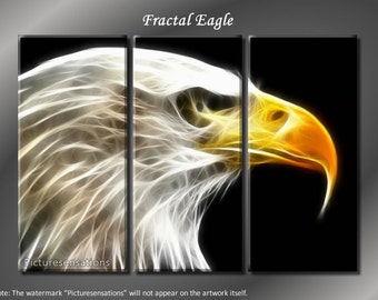 Framed Huge 3 Panel Digital Art Fractal Eagle Giclee Canvas Print - Ready to Hang
