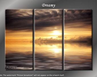 Framed Huge 3 Panel Modern Art Ocean Sunrise Dreamy Giclee Canvas Print - Ready to Hang