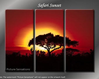 Framed Huge 3 Panel Modern Art Sunset Red Safari Giclee Canvas Print - Ready to Hang